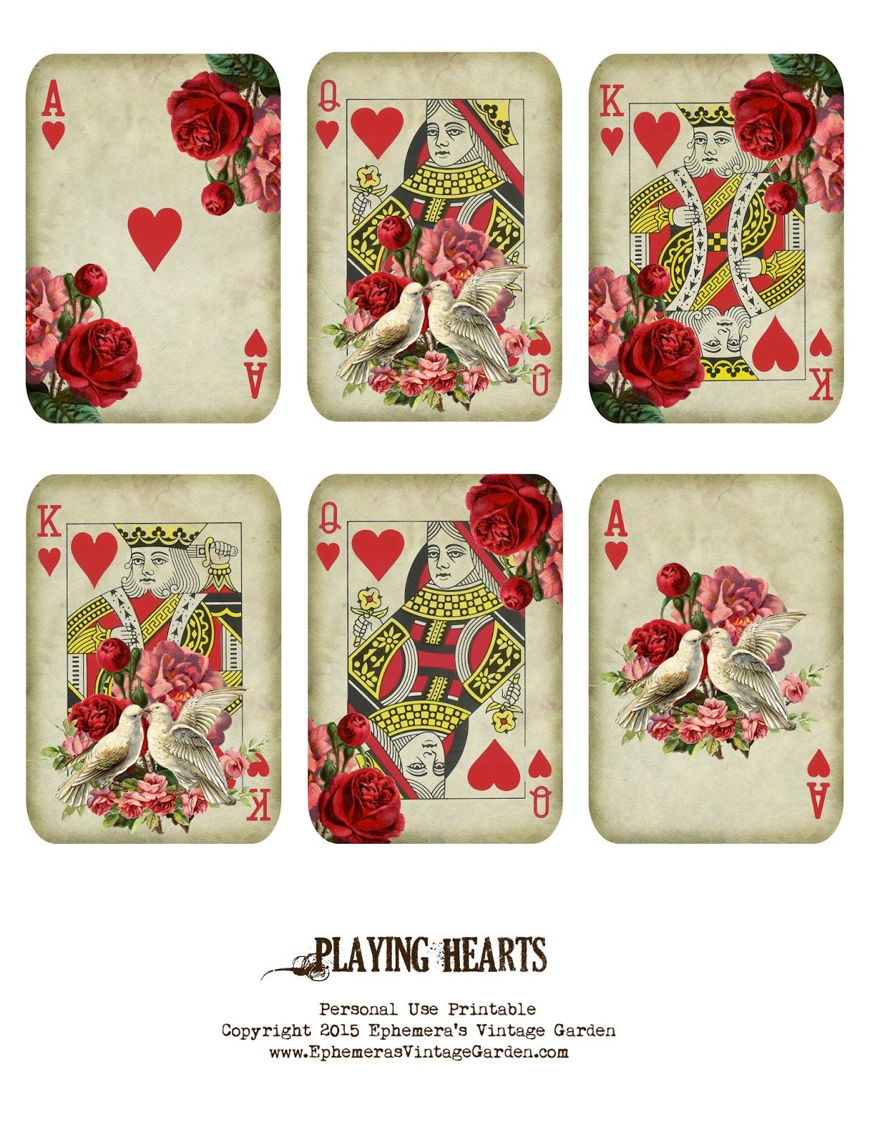 Ephemeras Vintage Garden Valentine playing cards – Valentine Playing Cards