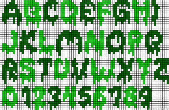 Creepy Alphabet Perler Bead Pattern Halloween Small