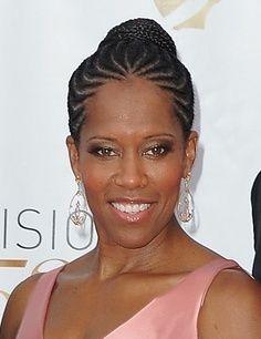 Nicole Ari Parker Braided Updo Cornrows N Braids Bun Curved Partings Braids For Black Hair Natural Hair Woman Braided Hairstyles