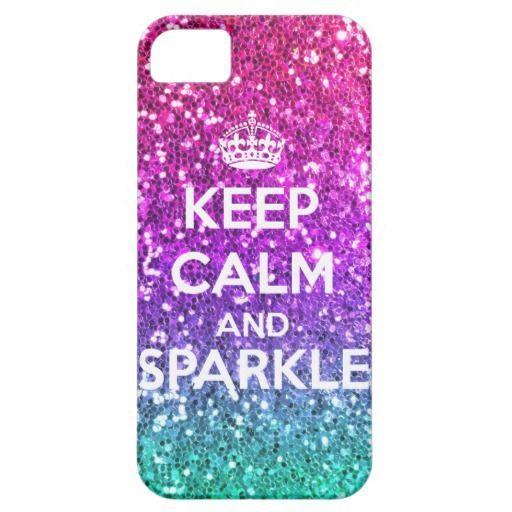 Keep Calm and Sparkle Glitter LookLike Rainbow iPhone 5 Cases