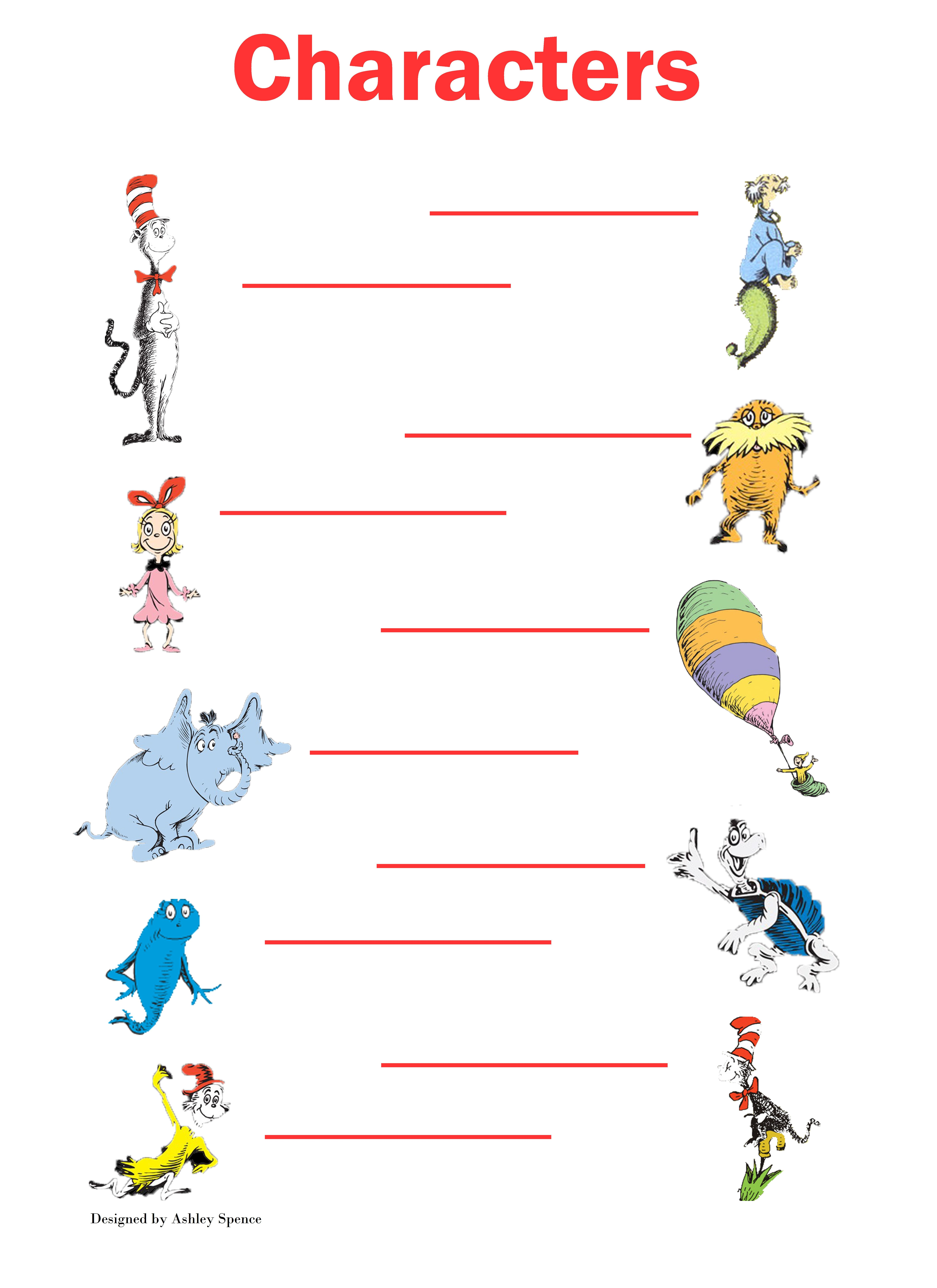 Baby Shower game #2 Dr. Seuss characters, either name the character or name  the book the character belongs to