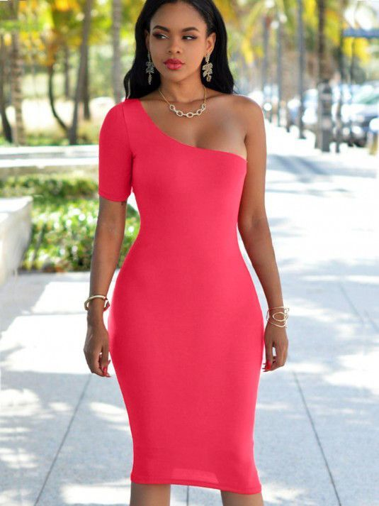 One Shoulder Body Con Club Dress Pinterest Black Summer