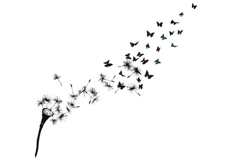 Image tatouage pissenlit papillon omoplate dessin - Dessin fleur pissenlit ...
