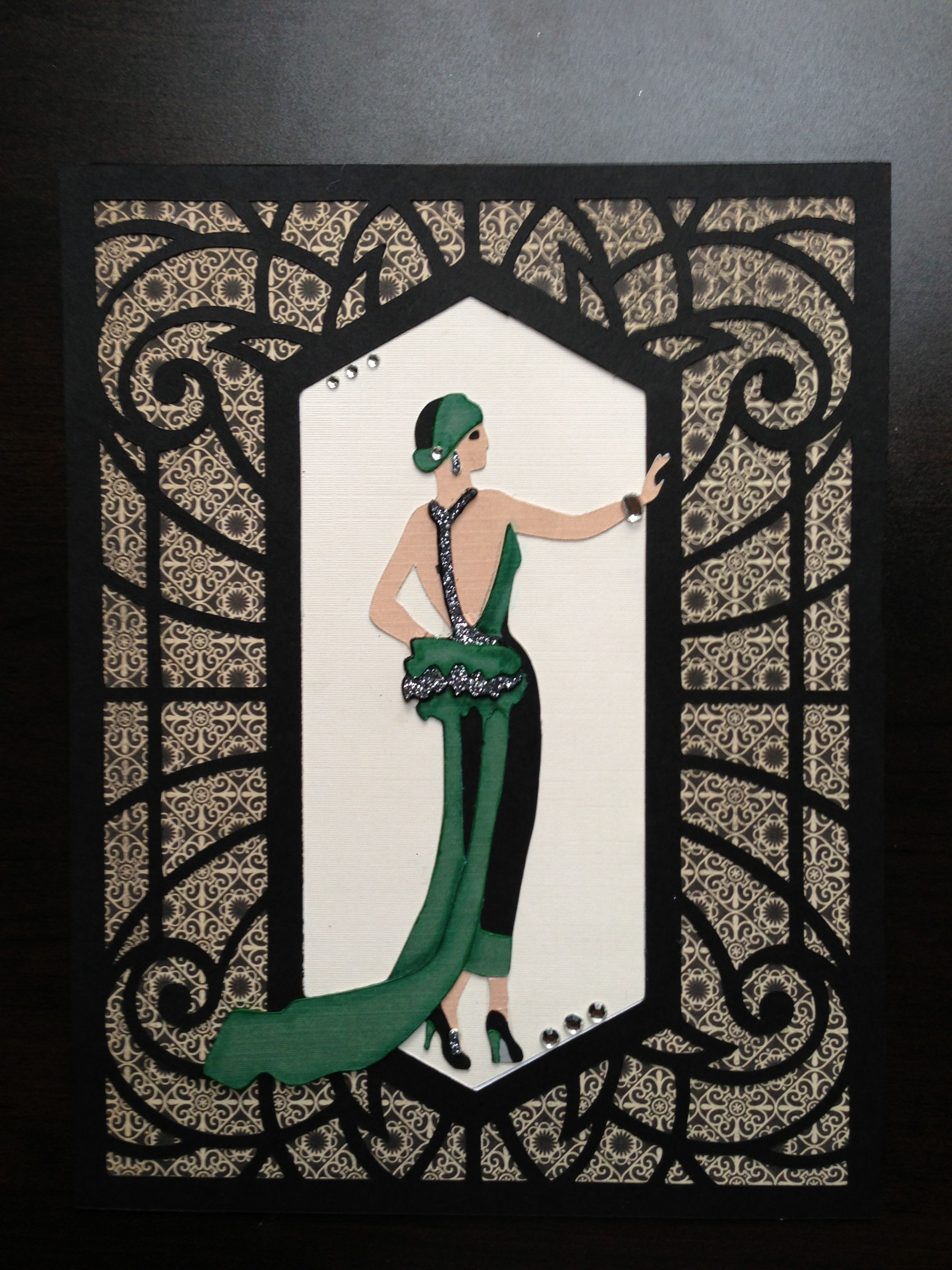nspiration for using Graphic 45 paper with Art Deco Cricut Cartridge in a  scrapbook layout
