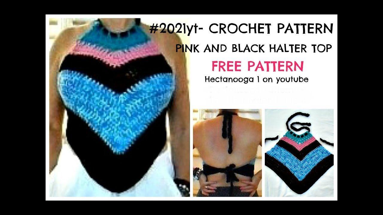 Crochet Pattern, Halter Top, PINK AND BLACK HALTER TOP, #2021yt ...
