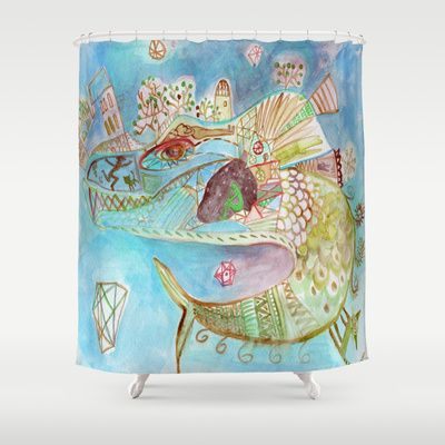 blue universe Shower Curtain #whimsical #drawing #unique