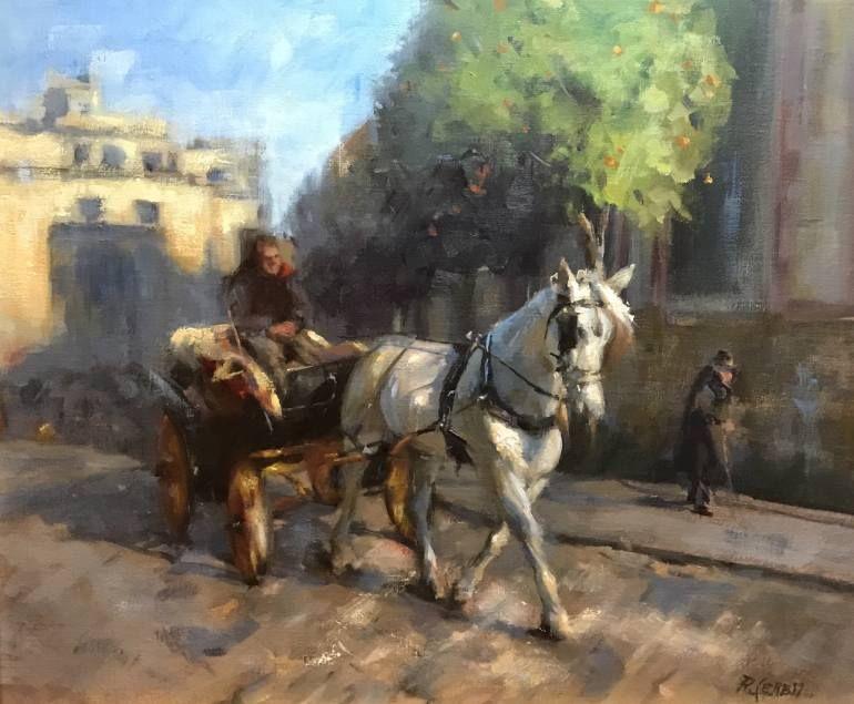 "Saatchi Art Artist Rosanne Cerbo; Painting, ""European Horse Carriage"" #art | Oil Painting | Art ..."