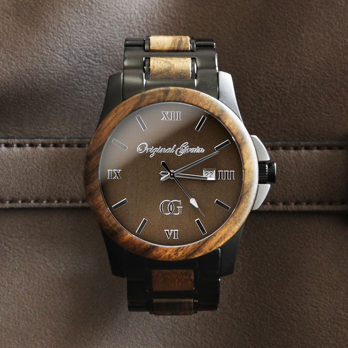 watch engraved original wood bronze inlay watches by with product gents