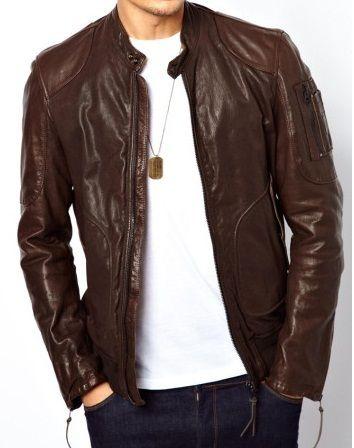 ba34585bb Handmade new men brown slim fit leather jacket, men's fashion ...
