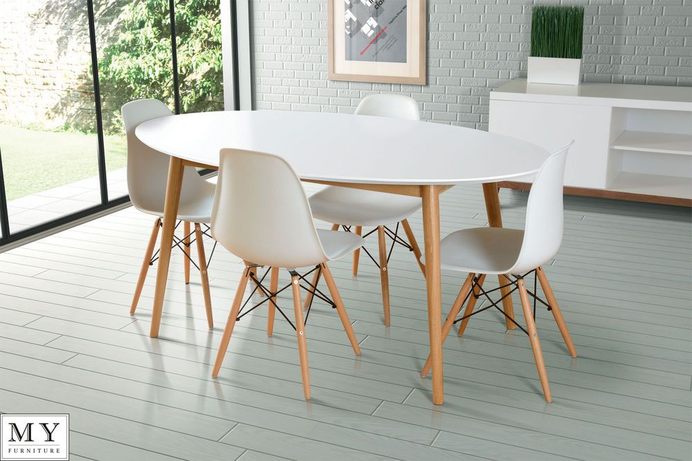 Solid Oak Lacquered White Dining Table Round Oval Rectangle Retro - Oval dining table for 4