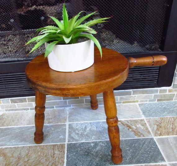 Magnificent Primitive Handmade Rustic Wooden Milking Stool Three Legged Creativecarmelina Interior Chair Design Creativecarmelinacom