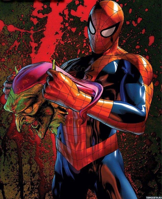 Человек-паук с оторванной головой Зелёного гоблина ...