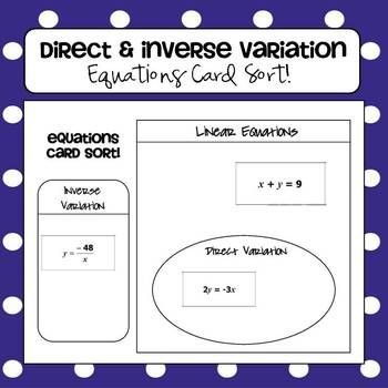 Direct Inverse Variation Equations Card Sort Activity Graphic