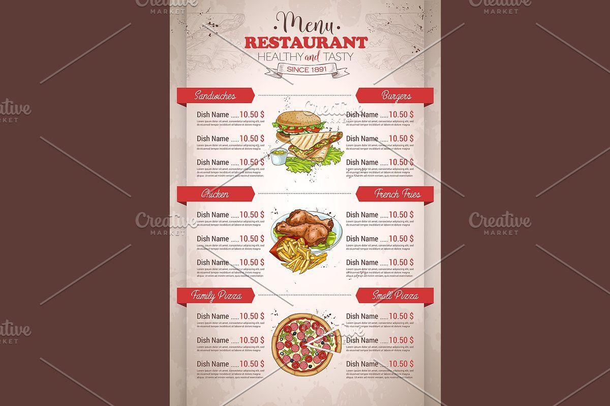 Restaurant Vertical Color Menu In 2020 Menu Design Creative Dish Menu