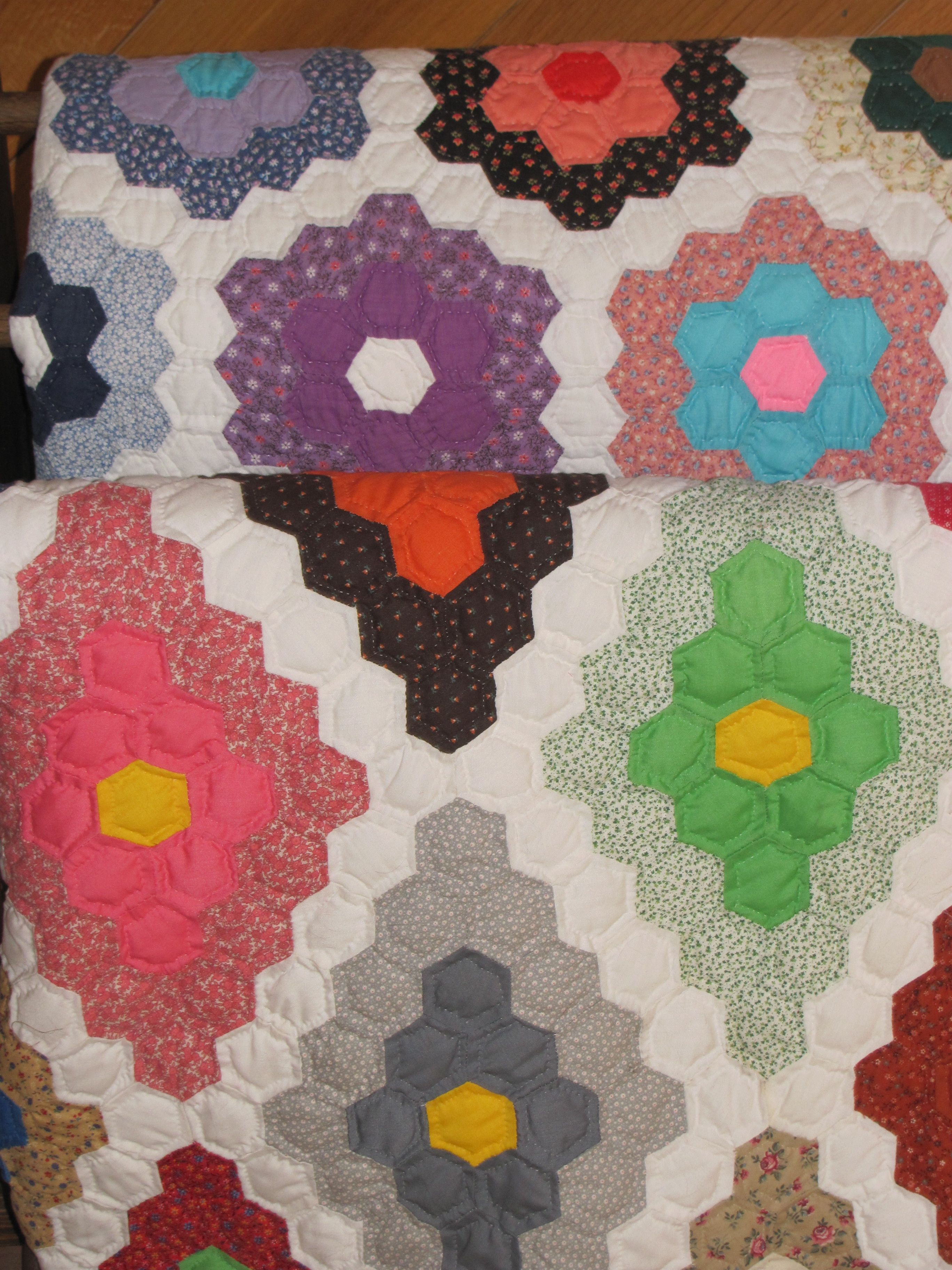 Flower Garden and Field of Diamonds Makes me think of my Mamaw and all the beautiful quilts she made.  <3