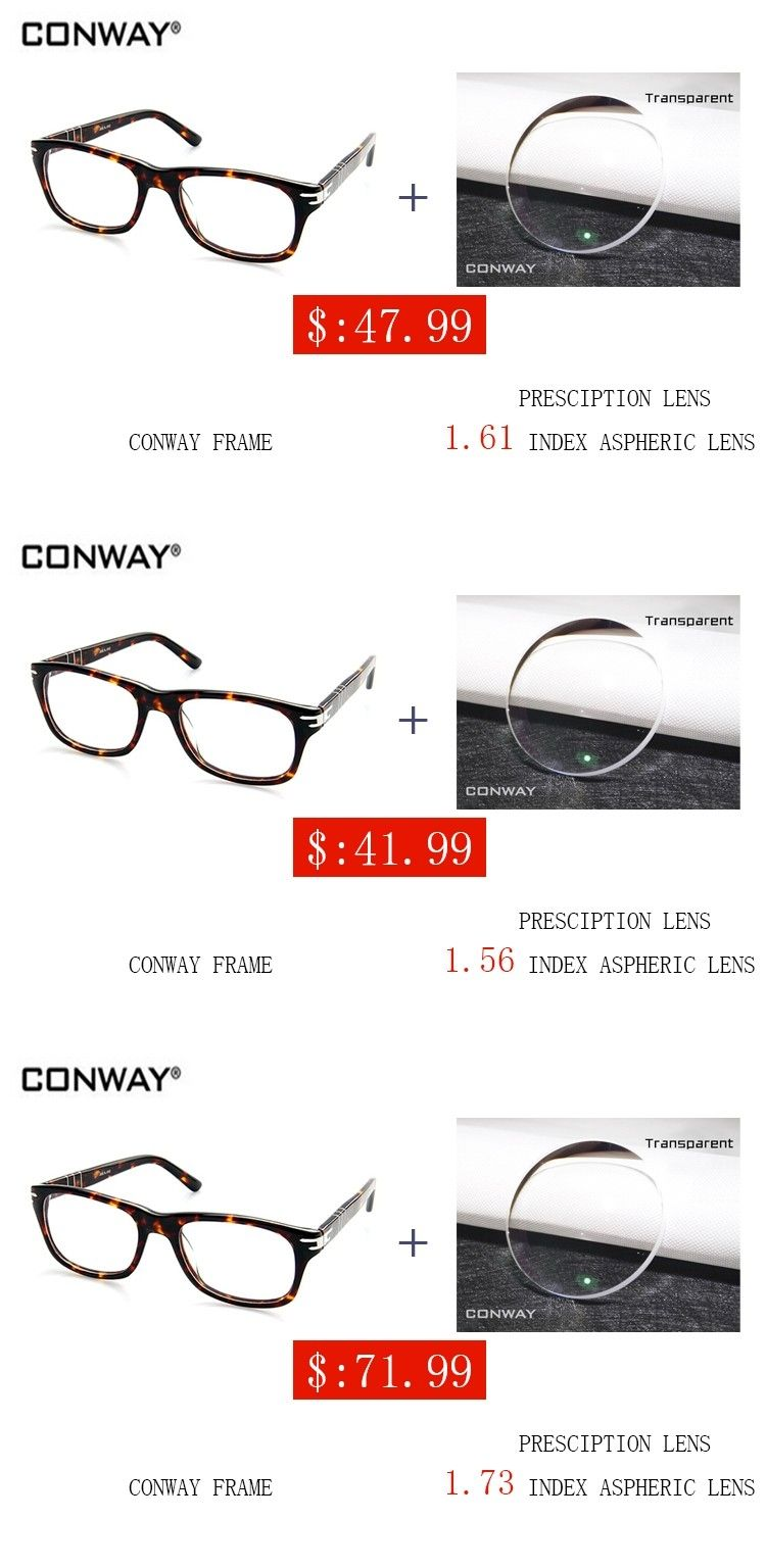 b7588888d128 CONWAY 2017 Eye Glasses Frames for Men Demi Color CN00040301 Prescription  Eyewear Optical Glasses with lens