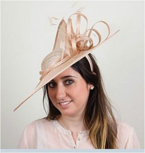 nude-champagne-wedding-hat-disc-fascinator-ascot-occasion -mother-of-the-bride f9cba0d483d