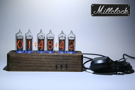IN-14 NIXIE TUBE CLOCK ASSEMBLED BRIGHT WOOD ENCLOSURE GPS ALARM AND ADAPTER 6-tubes by MILLCLOCK