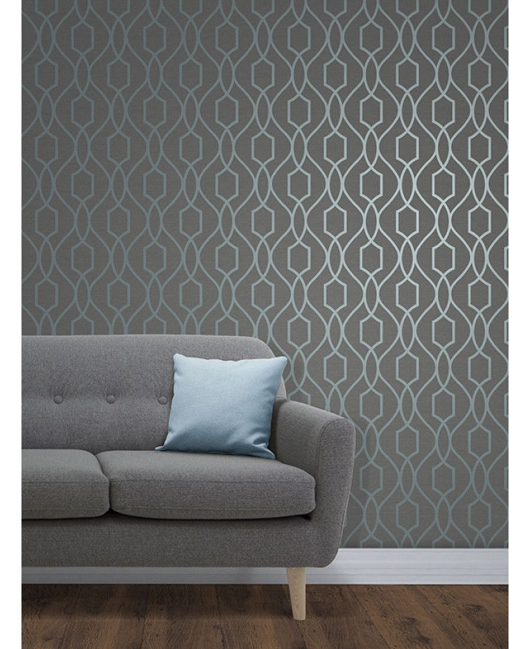 The Apex Geometric Trellis Wallpaper has a contemporary metallic blue finish which has been set upon a slate grey background. Free UK delivery available