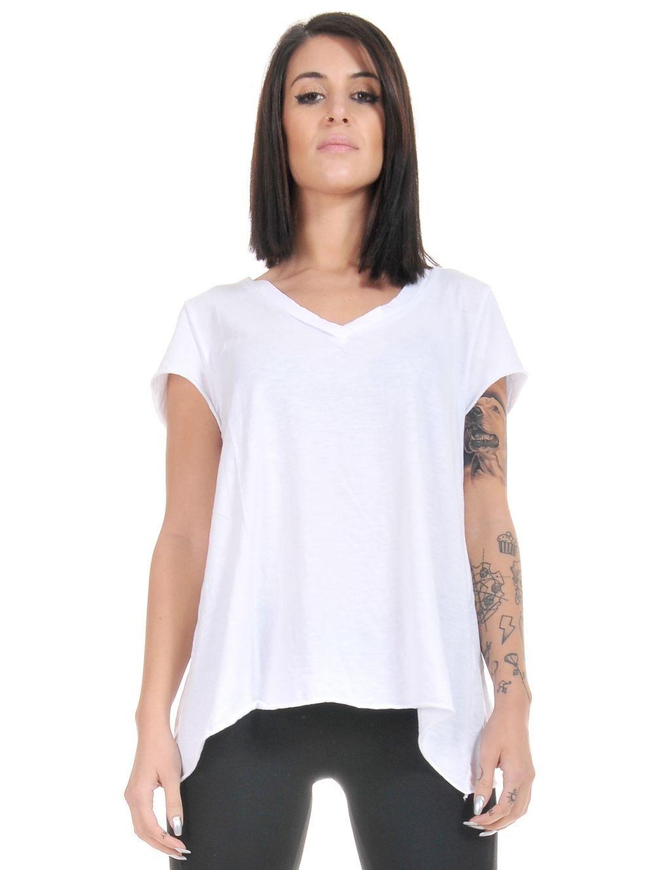 302b83475140 ATTRATTIVO Γυναικεία κοντομάνικη φλάμα λευκή μπλούζα V