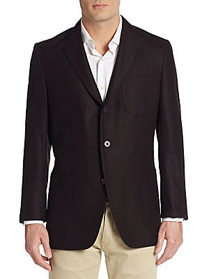 Saks Fifth Avenue Double Faced Wool Jacket - Burgundy - Size 4