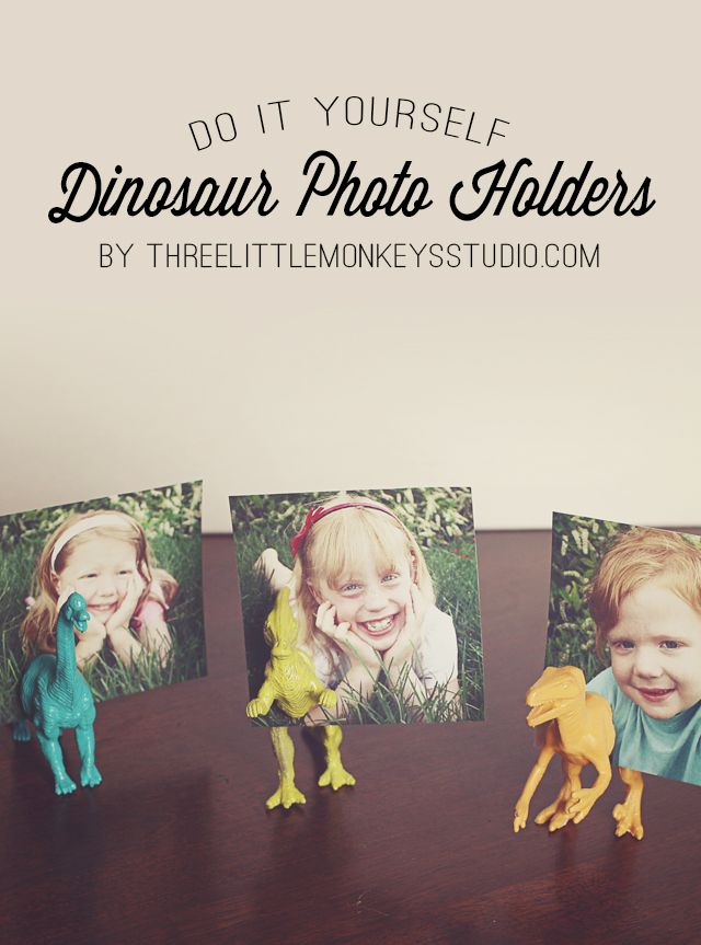 DIY Dinosaur Photo Holders - Three Little Monkeys Studio #dinosaur