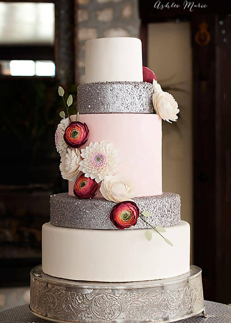 Silver Edible Sequins Wedding Cake With Gumpaste Flowers