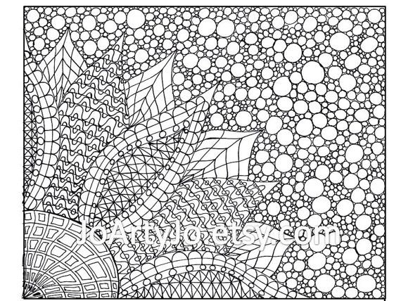 Coloring Page Zentangle Inspired Flower Printable Page 2 Etsy In 2021 Coloring Pages Flower Printable Zentangle Patterns