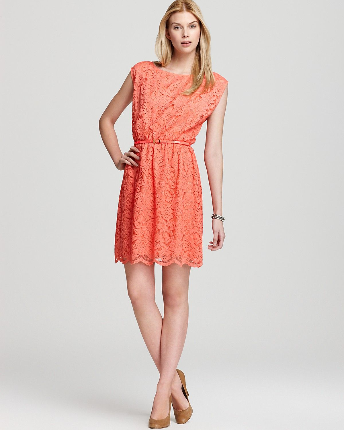 VINCE CAMUTO Lace Dress with Belt | Bloomingdale's