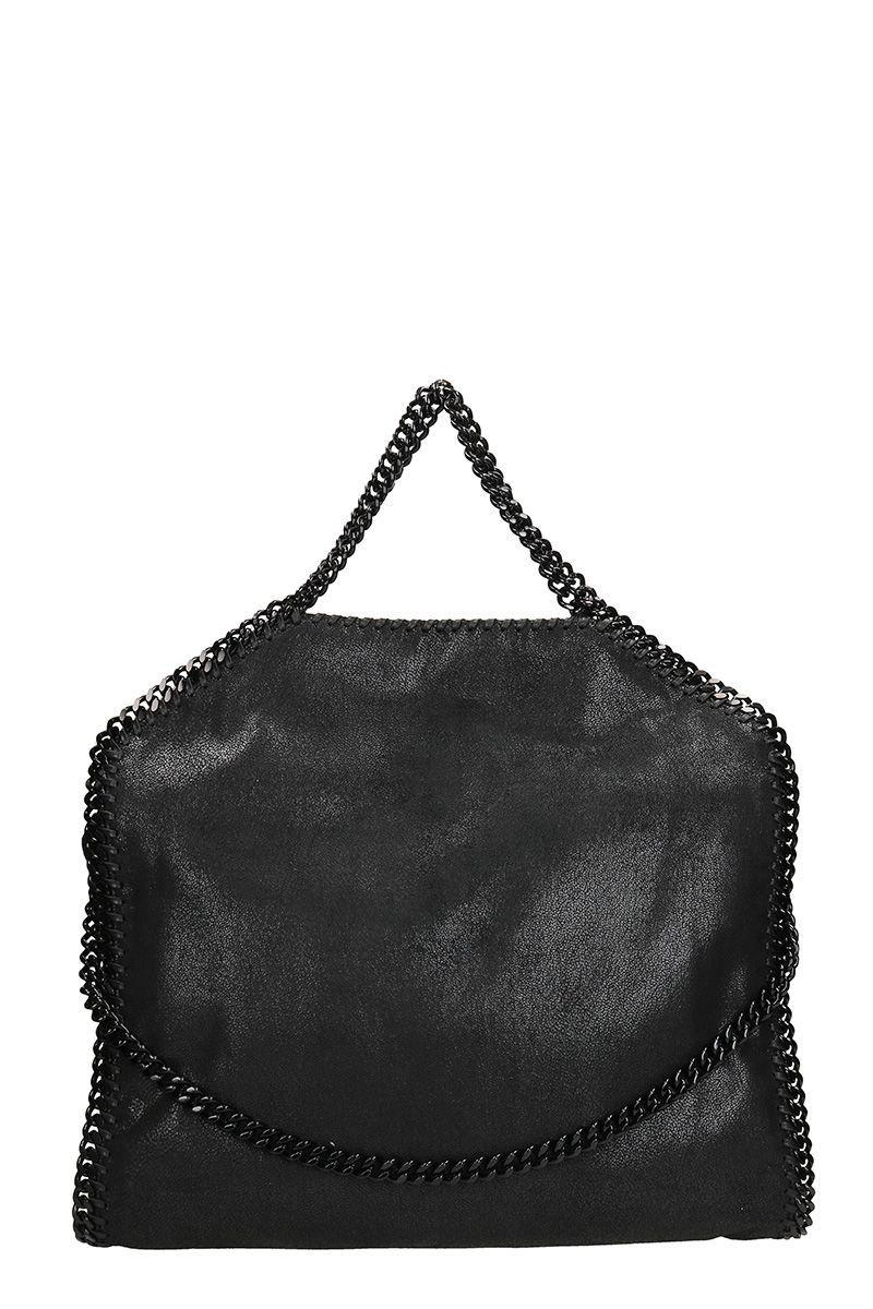 4aef63514fab Falabella Fold Over Tote black faux leather bag