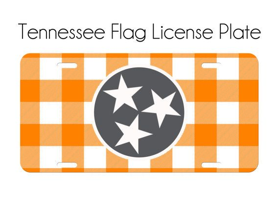 Tennessee License Plate Car Tag Orange White Checkerboard TN State ...