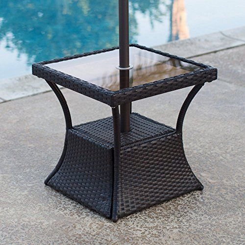 Patio Square Side Table With Glass Top And Umbrella Hole Https