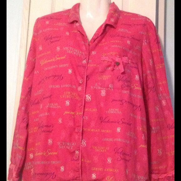 VS FLANNEL SLEEPSHIRT This is really cute hot pink in. Ol or with multi color VS writing and silver sparkle thread writing too just cute Victoria's Secret Intimates & Sleepwear Pajamas