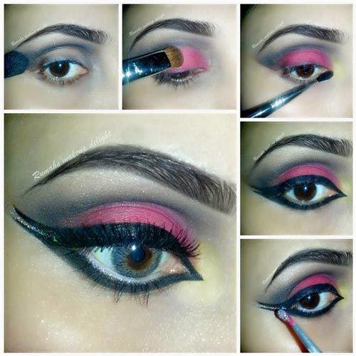 Bridal Tutorial of Smokey 2015 Eyes Black Smoky Makeup Pink India Pakistan