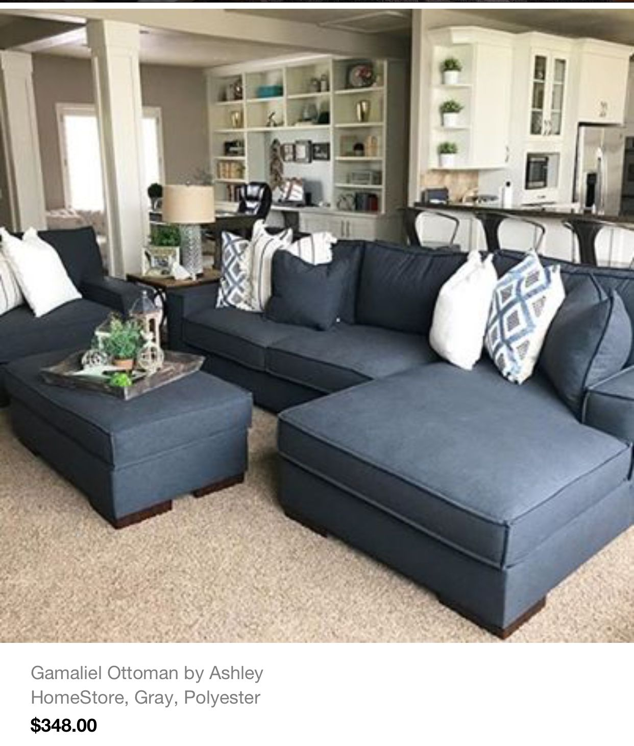 Pin By Kelsey Vaughn On Apartment Living Ashley Furniture Living Room Blue Couch Living Room Coastal Living Rooms