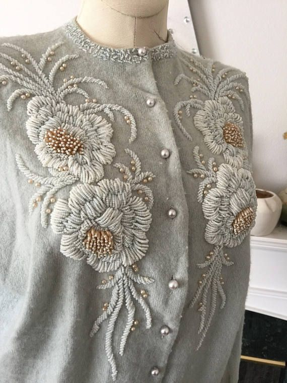50s Cashmere Heavy Dimensional Beaded  Blue Floral Cardigan