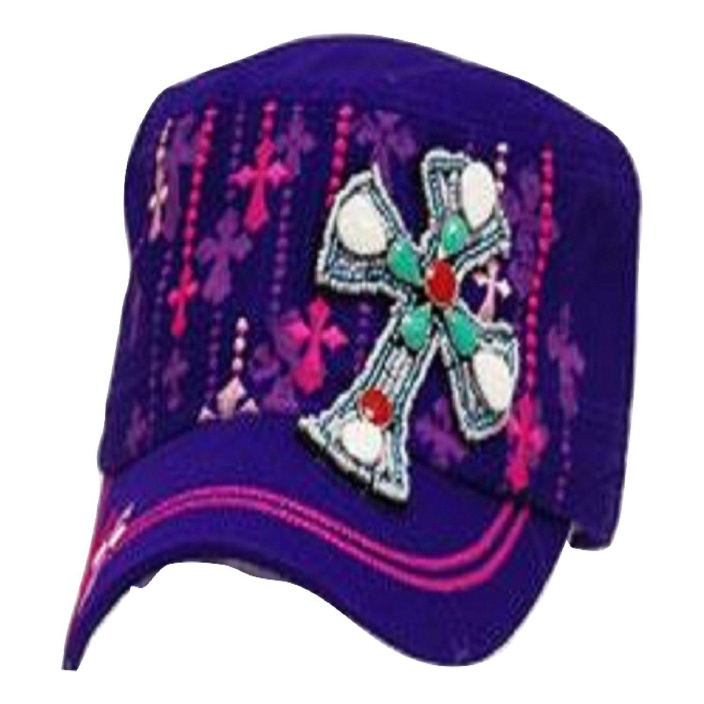 Leader Purple Rhinestone Cross Vintage Hat   Trendy Hats  cda8fd6f743