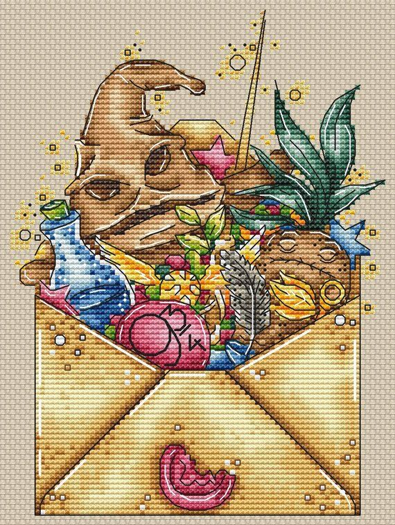 Photo of Harry Potter cross stitch pattern PDF Magic envelope Fantasy counted embroidery
