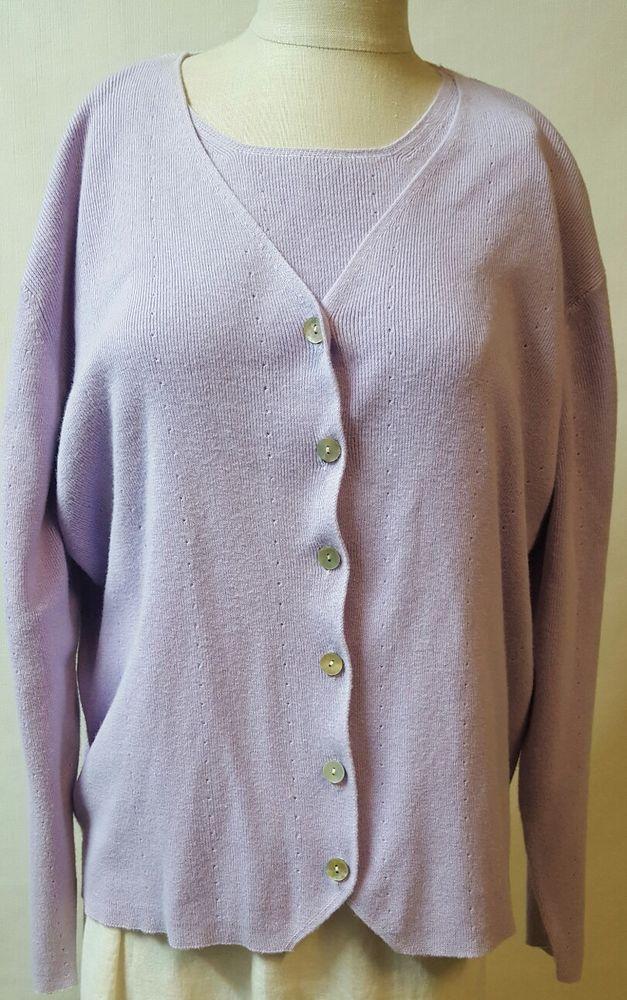 Denim   Co Light Purple Lilac Twin Set Sz Large L S S Sweater L S Cardigan   DenimCo  Twinset  casual ce11e6d3d