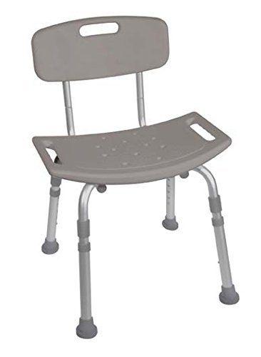 Bath Bench With Back Adjustable Legs Height Lightweight Shower