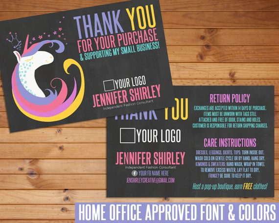 LuLaRoe Thank You Card, LuLaRoe Unicorn, Customized, Digital Download, Home Office Approved, LuLaRoe Marketing, Thank You, LuLaRoe Business  This listing is for custom Thank You Card images. Fonts and colors are compliant and home office approved.  This listing is for a custom digital file. No product will be mailed to you. Each digital file is postcard sized at 4x6 (4.25 x 6.25 bleed) at 300 DPI.  All digital files are non-refundable. If you have any questions before purchasing, please…