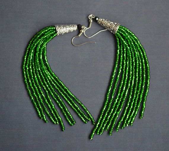 Bohemian Beaded Earrings Elegant Bead Earrings Seed Bead Earrings Long Beaded Earrings Tassel Earrings Fringe Boho Earrings