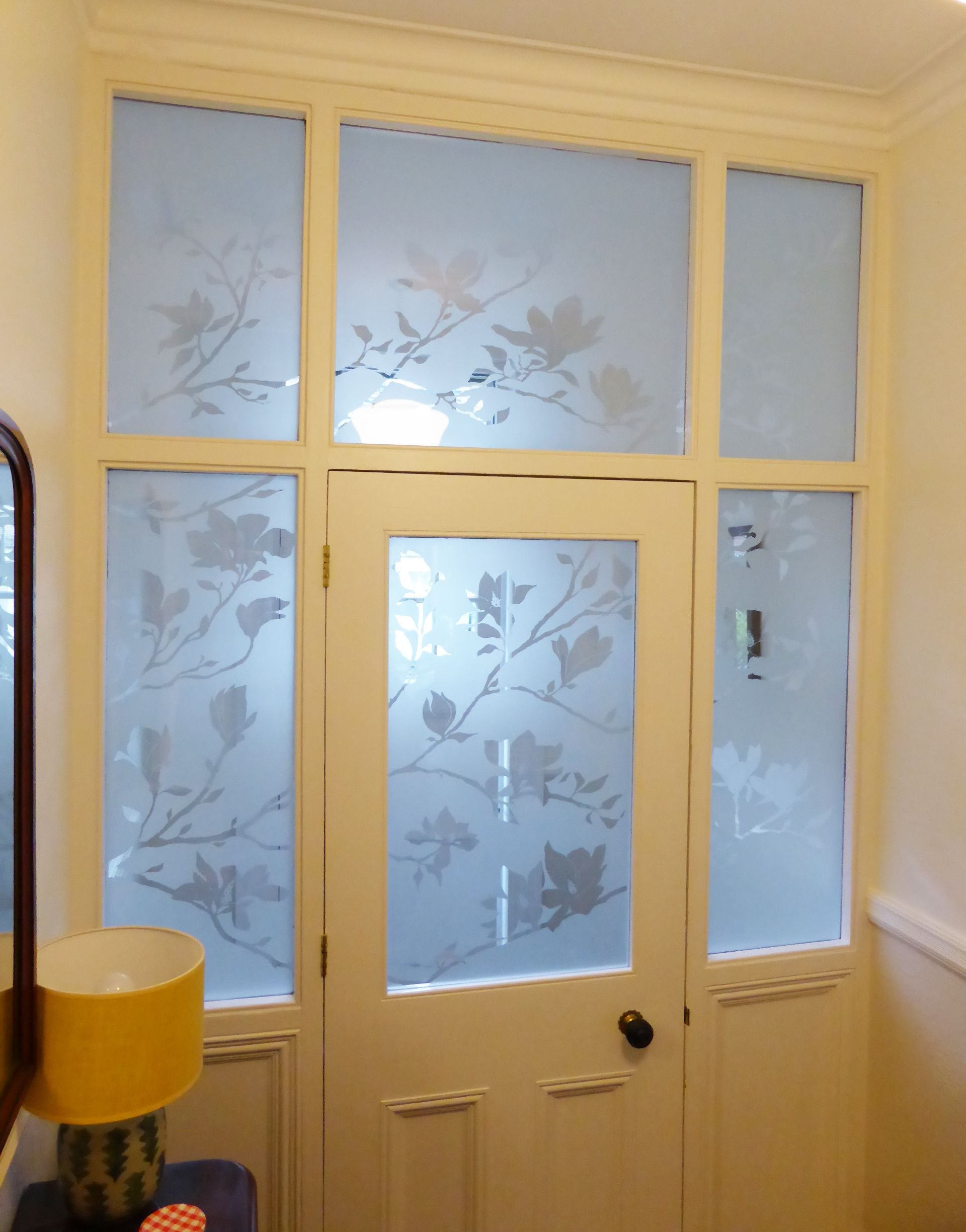 Magnolia design etched into glazing of inner hall doors | Etched ...