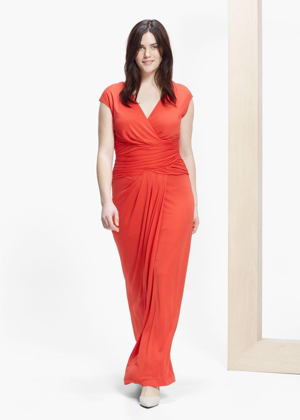 robe longue drapée - grandes tailles | robe longue rouge