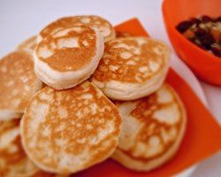 Pikelets - with a little scrape of butter and sandwiched together. Perfect for recess!