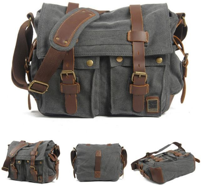 Old School Style Canvas Messenger Bag For Men And Women Bags With Genuine Leather Straps Dual Adjustment Buckles