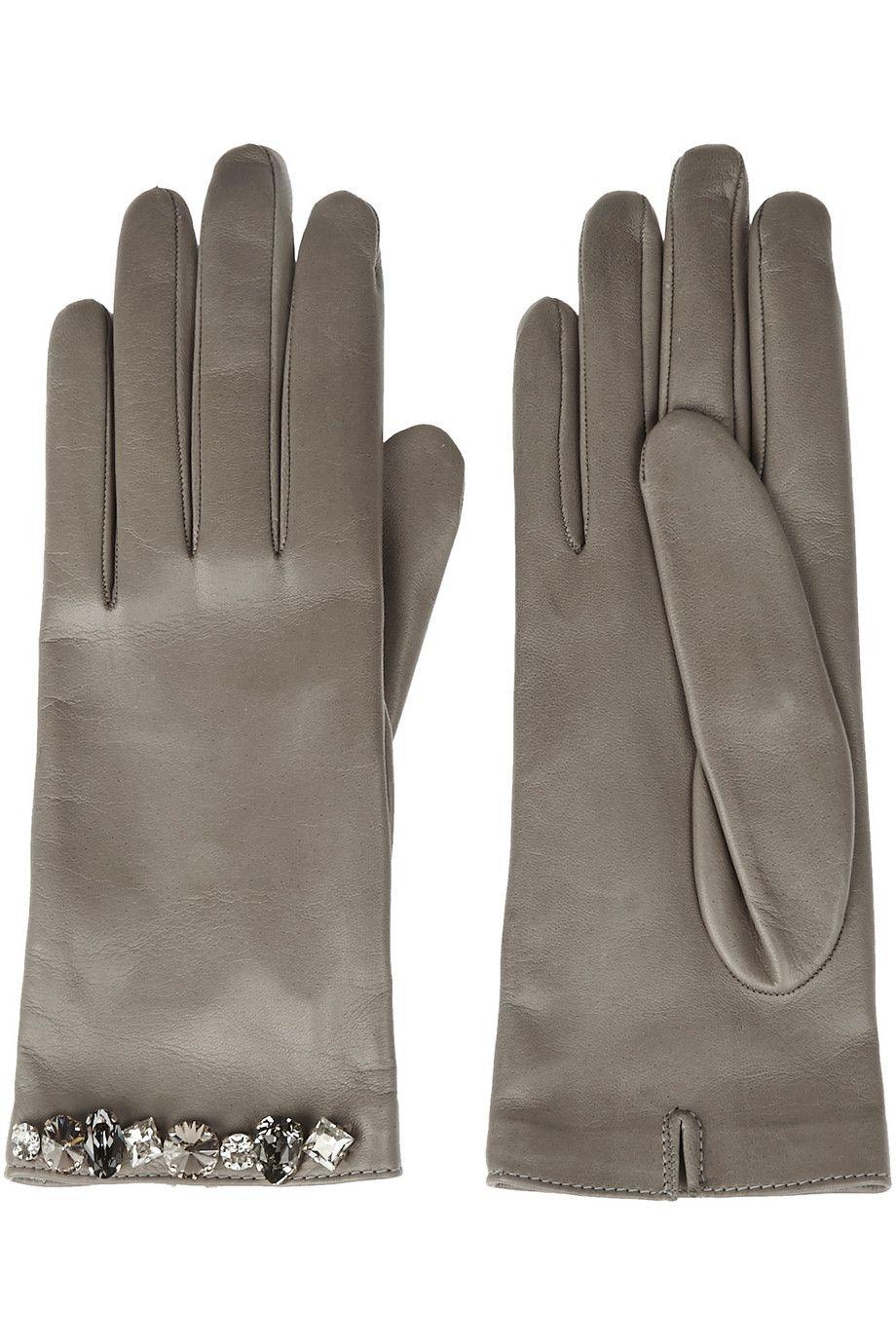 ce65b508c0b Gucci | Swarovski crystal-embellished leather gloves | NET-A-PORTER ...