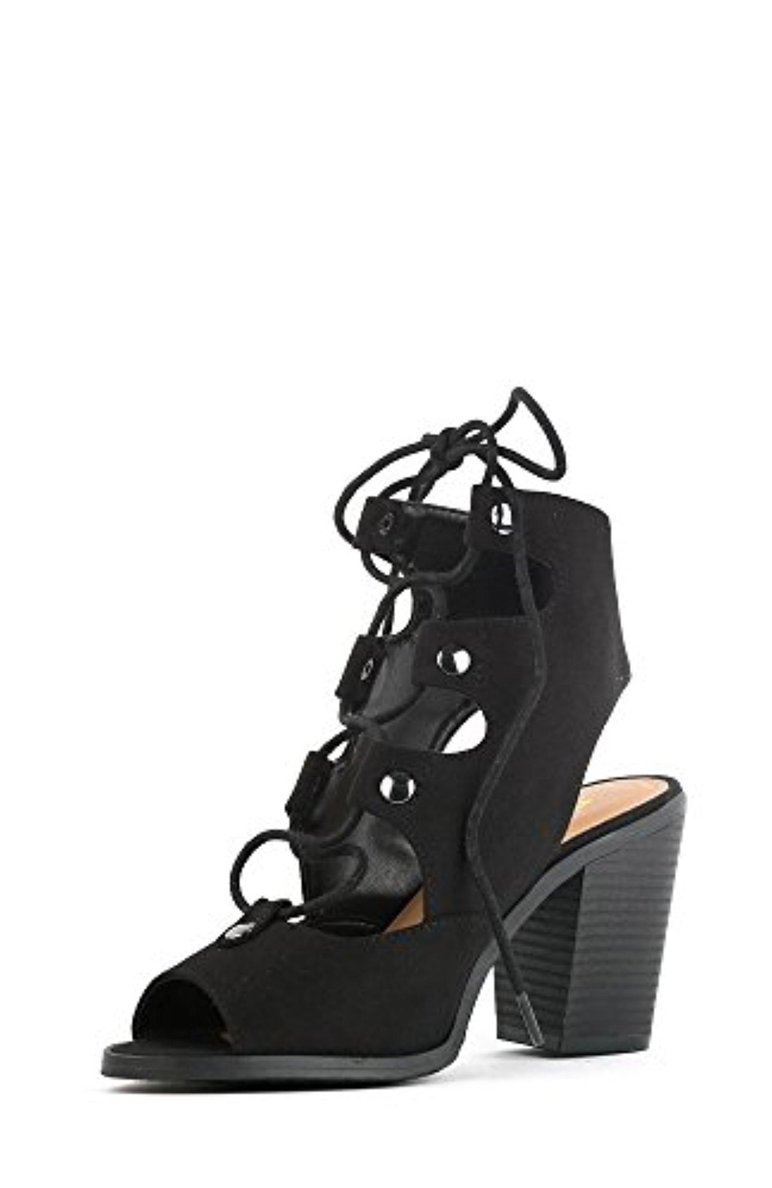 917f6f267c Soda Race Women's Stylish Lace Up Gladiator Cage Low Chunky Block Heel  Sandal - Black Imitation Suede,Black,7.5 - Brought to you by Avarsha.com