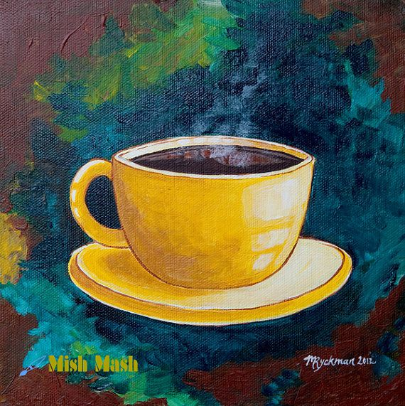 coffee art, coffee cup painting, art print, yellow, blue and brown ...