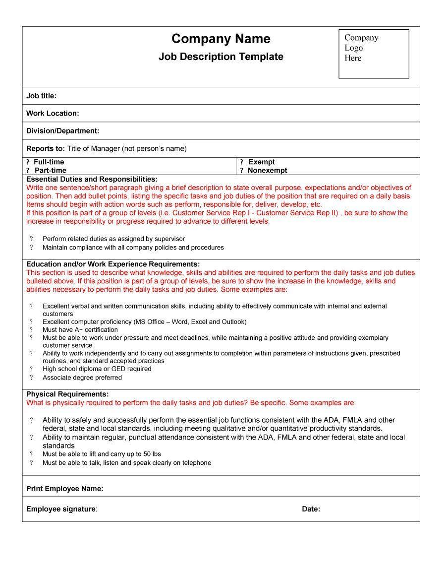 49 Free Job Description Templates & Examples Free